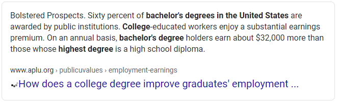 Average Salary Difference College Versus High School