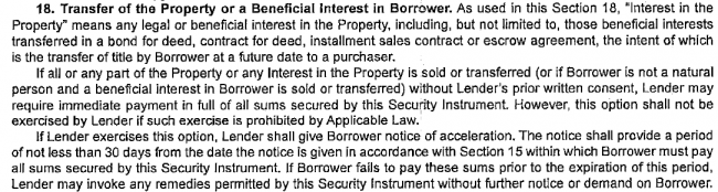 Due on Sale and Due on Transfer in Deed of Trust