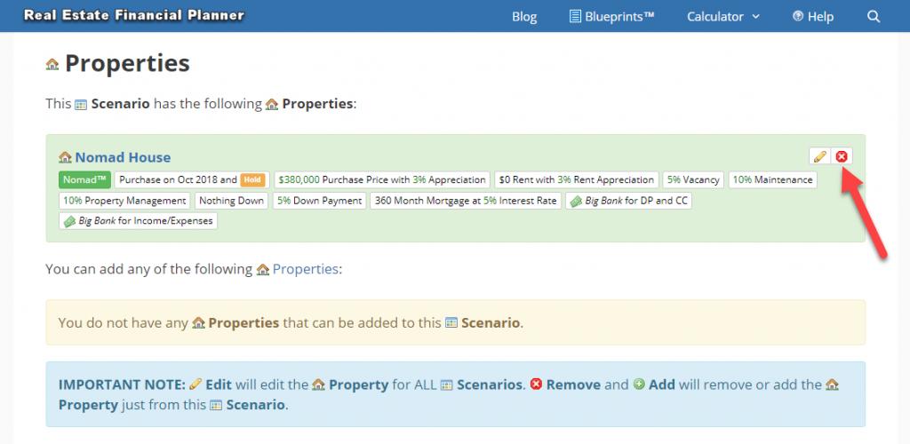 Remove Property from Scenario