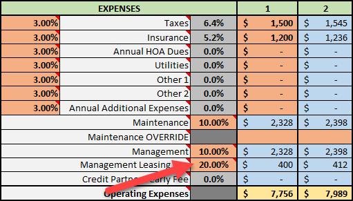 Management Leasing Fee Percentage
