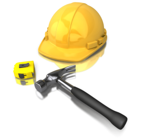 yellow hard hat, measuring tape, and hammer